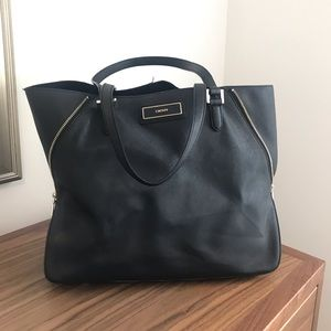 DKNY side zip tote. Black saffiano leather